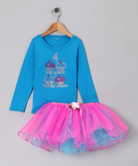 Blue '4' Cupcake Tee & Tutu - Girls