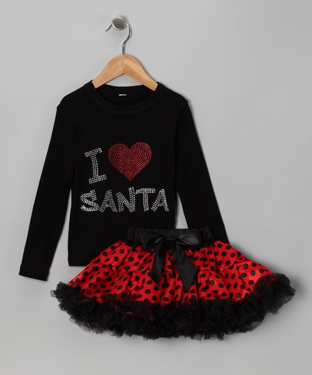 Black 'I Love Santa' Tee & Pettiskirt - Infant, Toddler & Girls