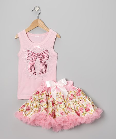 Pink Bow Tank & Rose Pettiskirt - Infant, Toddler & Girls