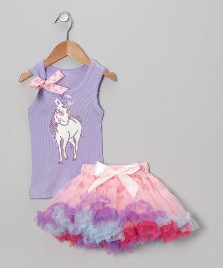 Lavender Unicorn Tank & Pettiskirt - Infant, Toddler & Girls