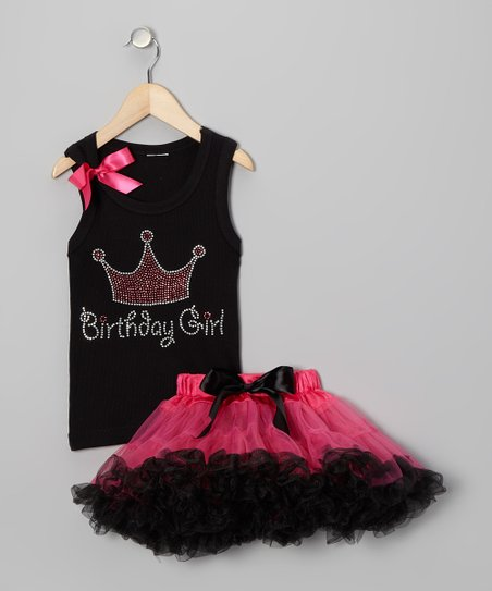 Black 'Birthday' Tank & Pettiskirt - Infant, Toddler & Girls