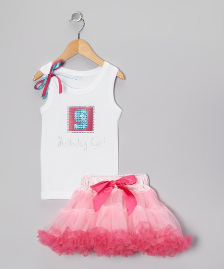 Pink '9 Birthday Girl' Tank & Pettiskirt - Girls