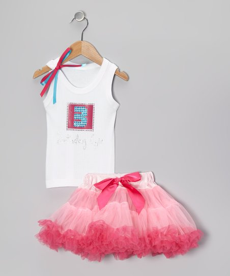 Pink '3 Birthday Girl' Tank & Pettiskirt - Toddler & Girls