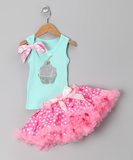 Teal Cupcake Tank & Pink Pettiskirt - Infant, Toddler & Girls