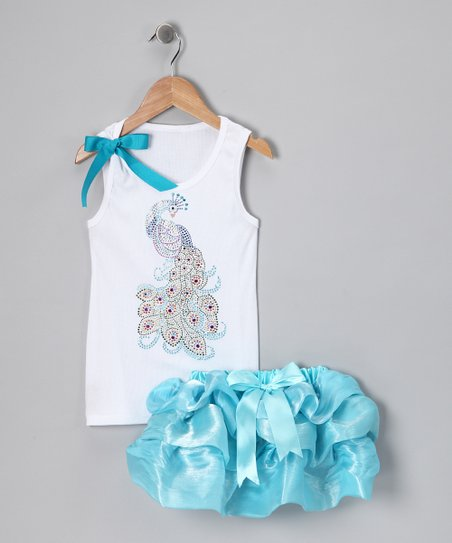 White Peacock Tank & Blue Skirt - Infant, Toddler & Girls