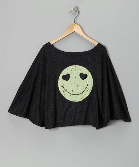 Charcoal Smiley Face Tissue Poncho