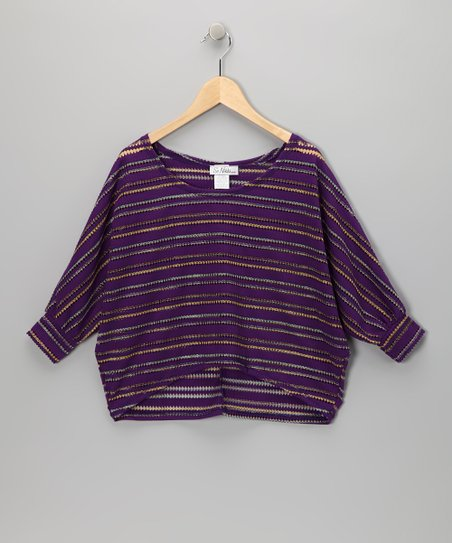 Purple Stripe Dolman Sweater