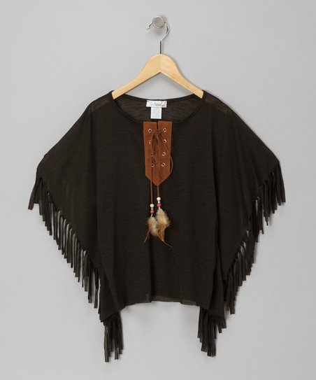 Black Feather Fringe Cape-Sleeve Top