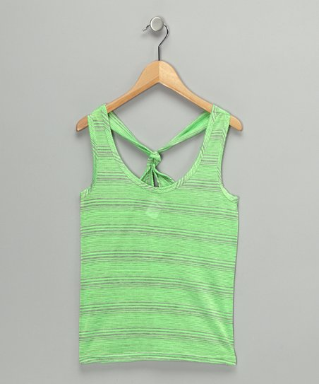 Green Stripe Knot-Back Tank