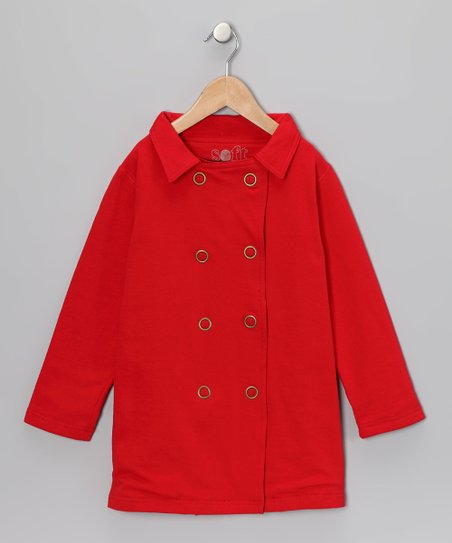 Poppy Red Peacoat - Girls