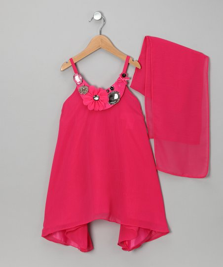 Fuchsia Yoke Dress & Shawl - Girls