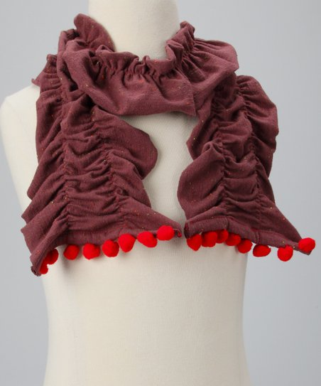 Brown & Red Pom-Pom Ruffle Scarf