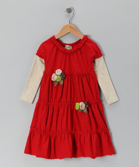 Crimson Rosette Layered Dress - Infant, Toddler & Girls