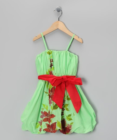Pistachio Floral Bow Dress - Toddler &amp; Girls