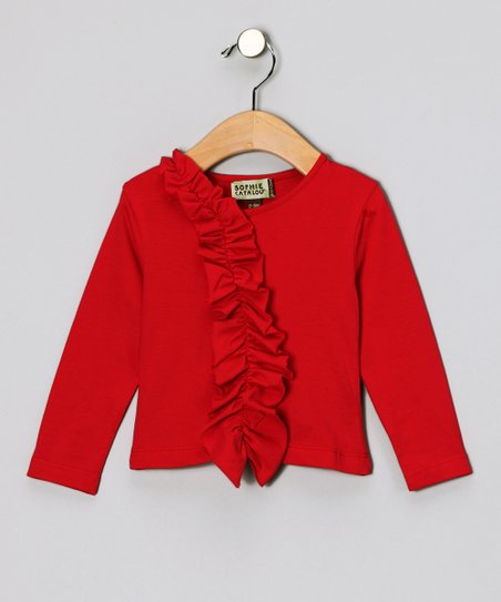 Crimson Asymmetrical Ruffle Tee - Infant, Toddler & Girls