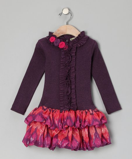 Purple & Red Rosette Tiered Dress - Infant, Toddler & Girls