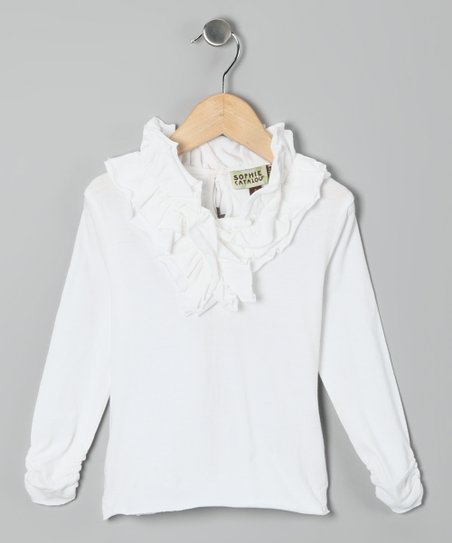 White Anne Ruffle Top - Toddler & Girls