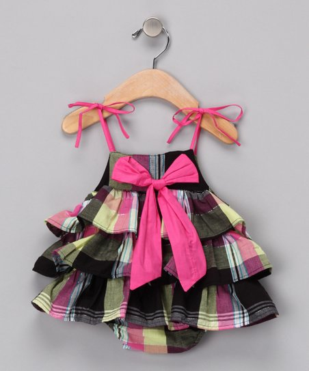 Black Plaid Lydia Skirted Bodysuit - Infant