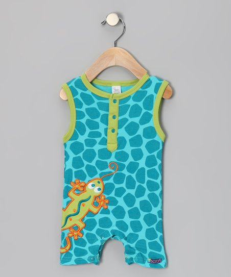Green & Blue Gecko Romper - Infant