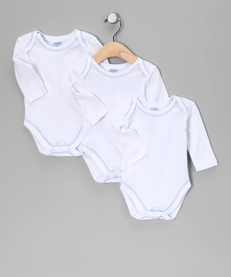 White &amp; Blue Trim Bodysuit Set