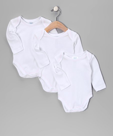 White & Pink Trim Bodysuit Set - Infant