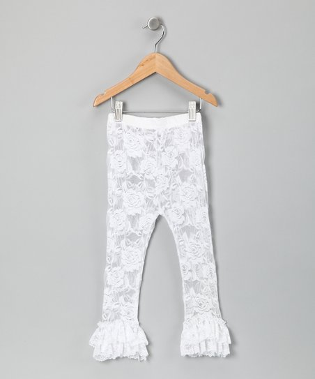 White Lace Ruffle Leggings - Infant, Toddler &amp; Girls