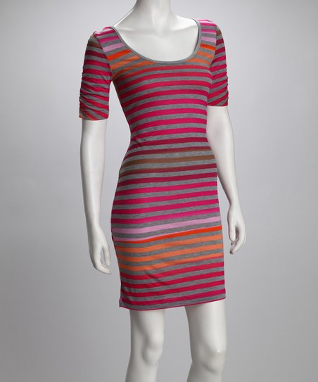 Speechless Gray & Fuchsia Stripe Dress
