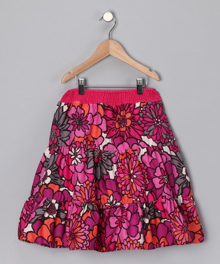 Fuchsia Floral Tiered Skirt