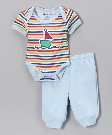Light Blue Stripe Sailboat Bodysuit & Pants - Infant