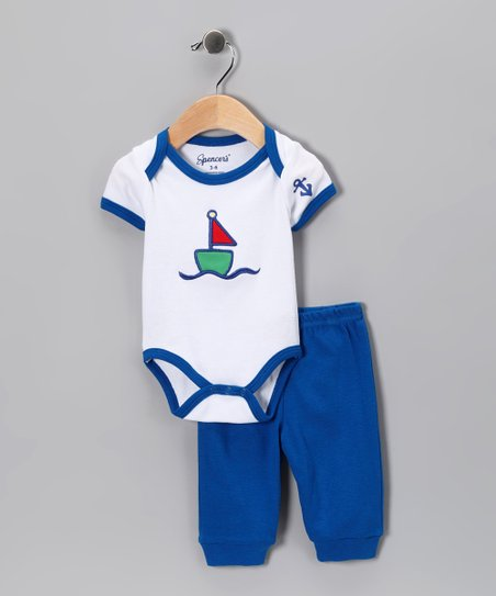 White Sailboat Bodysuit & Blue Pants - Infant