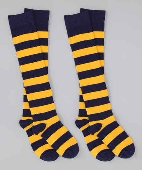 Navy Blue & Gold Stripe Knee-High Socks Set