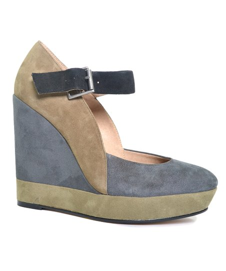 Steel & Camel Color Block Larabee Mary Jane Wedge