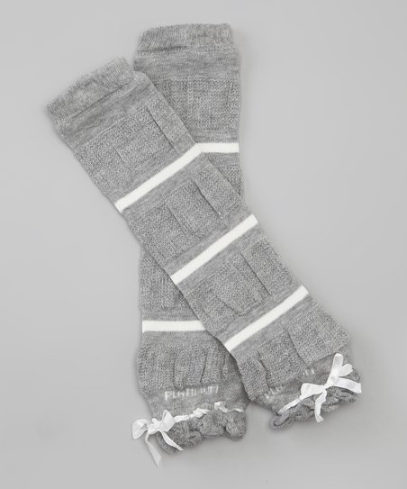 Gray & White Stripe Leg Warmers