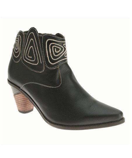 Black Leather Gamer Cowboy Bootie