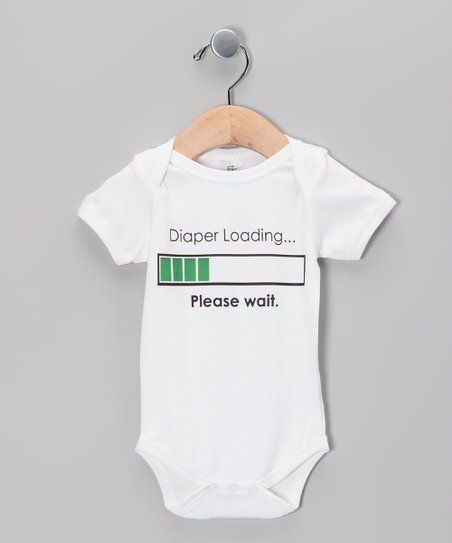 White &#039;Diaper Loading&#039; Organic Bodysuit - Infant