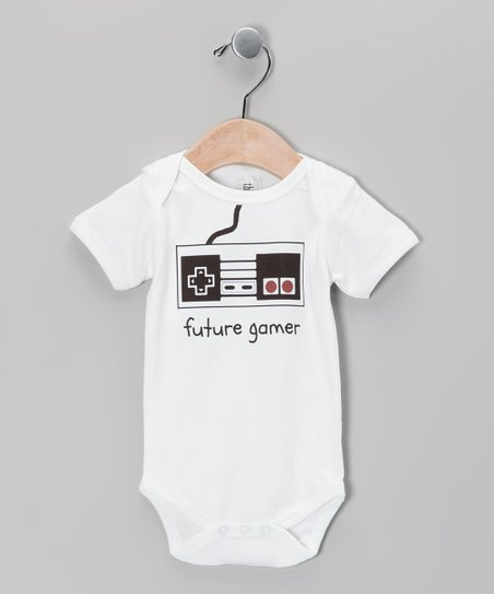 White 'Future Gamer' Organic Bodysuit - Infant