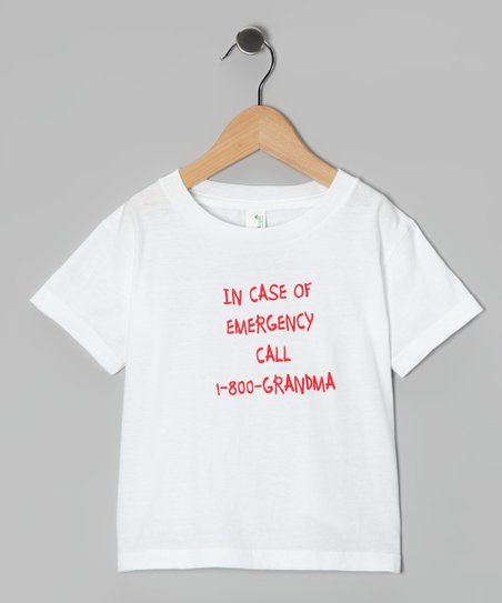White &#039;1-800-Grandma&#039; Organic Tee - Toddler
