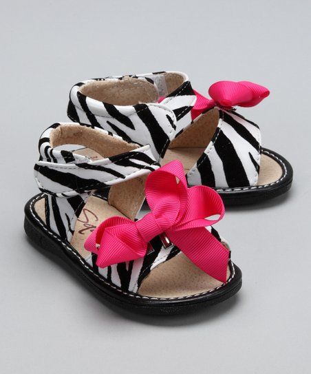 Little Green Trike by Squeakers Zebra Claudia Bow Squeaker Sandal