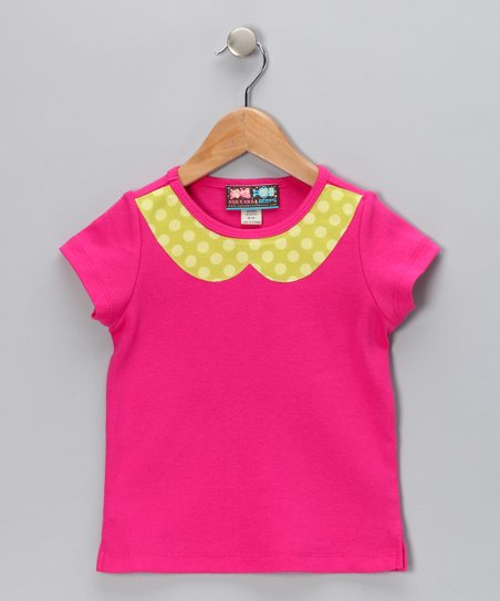 Hot Pink & Lime Peter Pan Collar Tee - Infant, Toddler & Girls