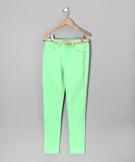 Neon Mint Skinny Jeans - Girls
