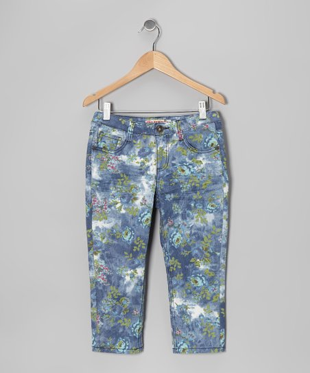 Blue & Green Floral Denim Capri Pants - Girls