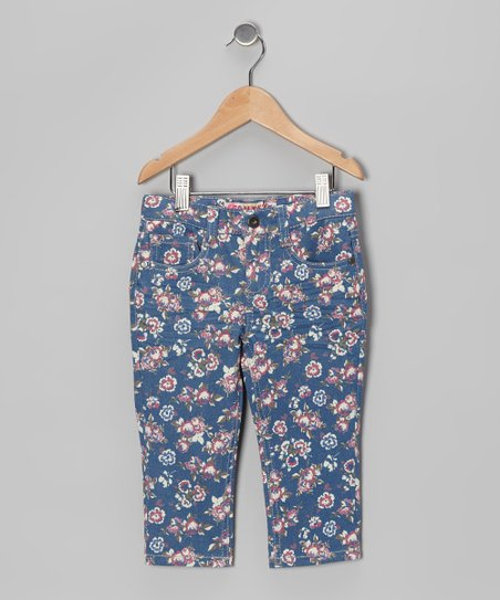 Blue Floral Capri Pants - Toddler &amp; Girls