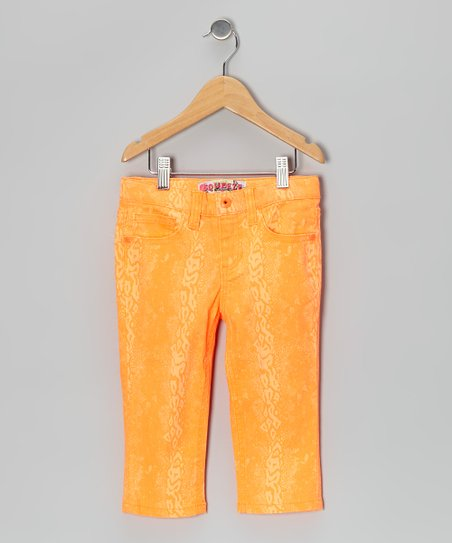 Orange Neon Snakeskin Capri Pants