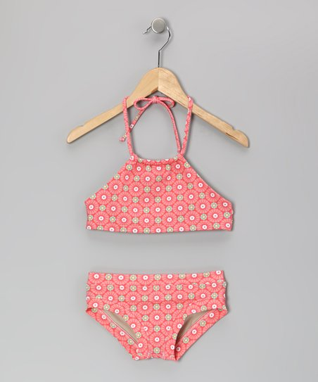 Peach Sunburst Chase Halter Bikini - Girls