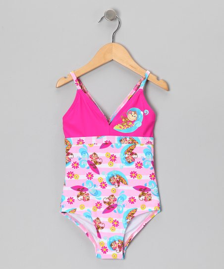 Pink Surfin' Monkey One-Piece
