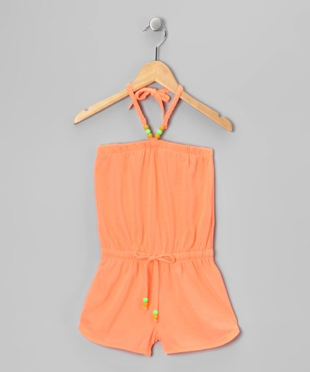 Neon Orange Bead Romper - Girls