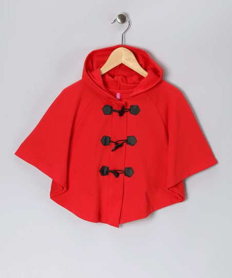 Red Toggle Poncho - Girls