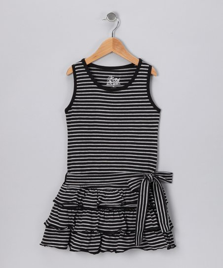Black Stripe Ruffle Dress - Girls