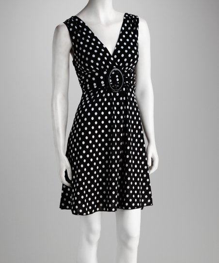 Black Polka Dot Surplice Dress