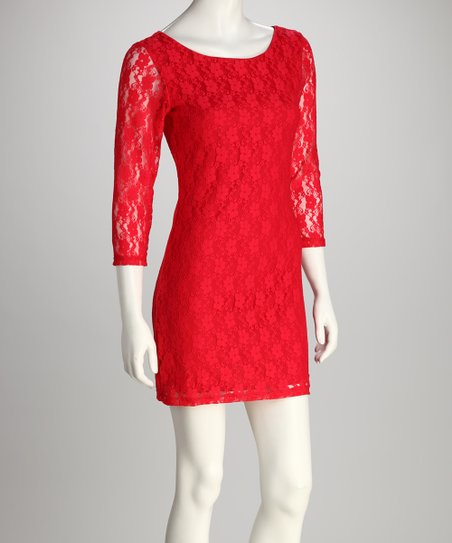 Red Lace Plus-Size Scoop Neck Dress
